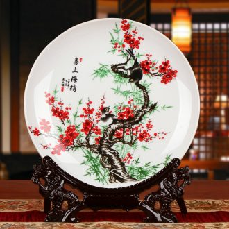 The magpies name plum modern jingdezhen ceramics faceplate hang dish modern household adornment handicraft decoration plate