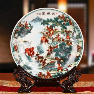 Jingdezhen ceramics powder enamel best deer figure seat plate hanging dish faceplate modern furnishing articles of Chinese style household decoration