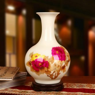 Jingdezhen ceramics white straw vase peony riches and honour contracted and I and fashionable household crafts