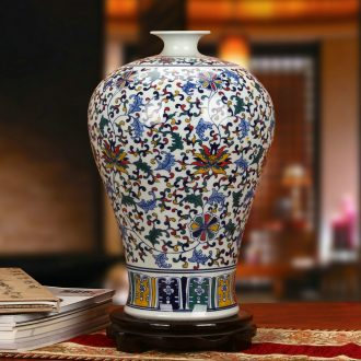 High - grade hand - made porcelain of jingdezhen ceramics wucai flower vases, antique Chinese style household furnishing articles around the branches