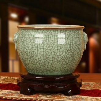 Jingdezhen ceramic antique officer elder brother up with crack open a piece of ears ring division head storage can act the role ofing is tasted furnishing articles
