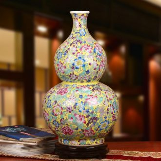 Jingdezhen ceramics high - grade fine expressions using hand - made pastel yellow flower peony gourd of large Chinese vase