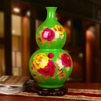Jingdezhen ceramics green straw vase peony flowers prosperous vase was Chinese style gifts decorative furnishing articles
