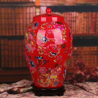 Jingdezhen ceramics vase crystal glaze Chinese red longfeng ChengXiang doll altar Chinese style wedding cornucopia