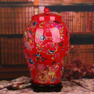 Jingdezhen ceramics vase crystal glaze Chinese red longfeng ChengXiang doll altar Chinese style wedding cornucopia