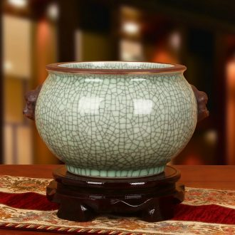 Jingdezhen ceramic binaural head elder brother up with crack glaze storage tank is antique Chinese style classical decoration home furnishing articles