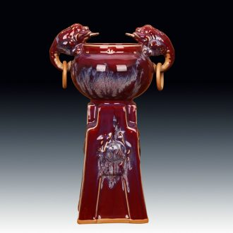 Jingdezhen ceramic vase archaize of jun porcelain up ice red ears lucky spittor ding statute of Chinese style decoration and furnishing articles
