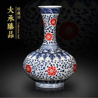 Jingdezhen blue and white lotus youligong tangled branches hand - made ceramics vase sitting room handicraft furnishing articles set a vase of study