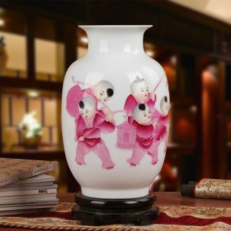 Famous jingdezhen ceramics vase Xia Guoan works upscale gift porcelain hand made red children east gourd bottle