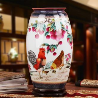 Xia Guoan vase high - grade hand - made works of jingdezhen ceramics powder enamel color glazed chicken prosperous new vase