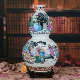 Chinese jingdezhen ceramics 18 arhats pastel big gourd vases, modern furnishing articles of Chinese style household decoration