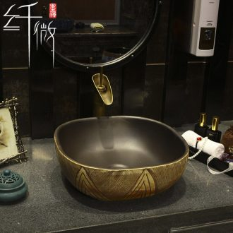 New Chinese style on the ceramic bowl square art basin sink basin water basin washing a face basin round its home