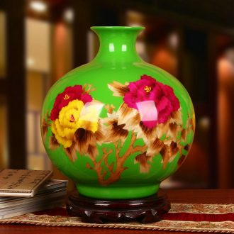 Jingdezhen ceramics straw large green peony riches and honour pomegranate vase decoration sitting room adornment is placed