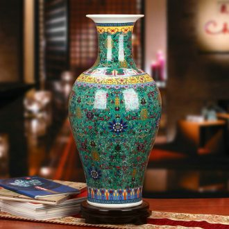 Chinese colored enamel porcelain of jingdezhen ceramics green live big vase modern collection crafts decorations