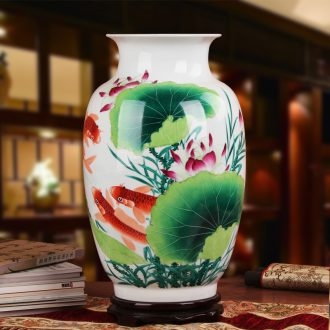 Famous works of hu, jingdezhen ceramics upscale gift hand famille rose porcelain lotus have fish in the vase