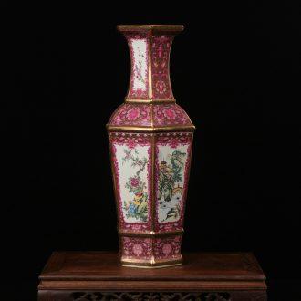 Jingdezhen ceramics vase colored enamel archaize furnishing articles and classical landscape vase household art decoration
