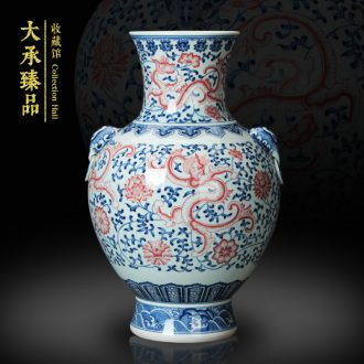 Jingdezhen blue and white youligong ceramics vase high - grade hand - made porcelain double elephant ear shell dragon vase lion