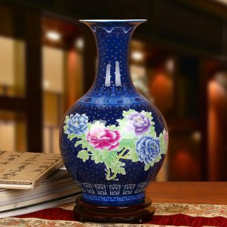 Jingdezhen ceramics high - grade enamel color sapphire blue peony vases, modern Chinese style home decoration collection furnishing articles