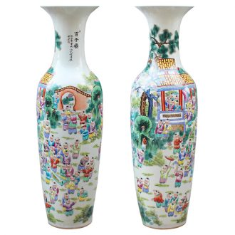 Jingdezhen ceramics hand - made pastel the lad figure of large vases, classical Chinese style living room home decoration