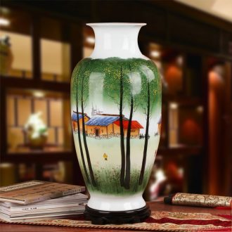 Famous hu, jingdezhen ceramics upscale gift collection hand famille rose porcelain, the small village of goddess of mercy bottle