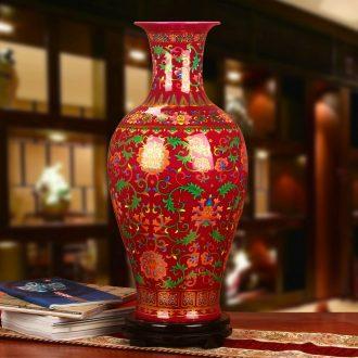 Jingdezhen ceramics modern household crystalline glaze mei red technological device of large vase furnishing articles
