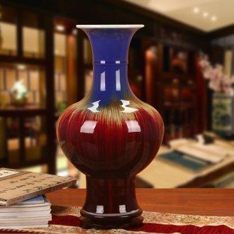 Jingdezhen ceramics vase four coating color glaze flower the lantern Chinese style household decoration decoration furnishing articles
