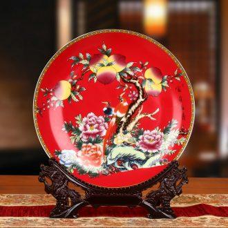 Jingdezhen ceramics China red peach sit faceplate hang dish plate birthday gifts decorative furnishing articles