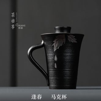 Famed meet spring with cover with filter ceramic cups Chinese wind restoring ancient ways household character of water glass tea cup