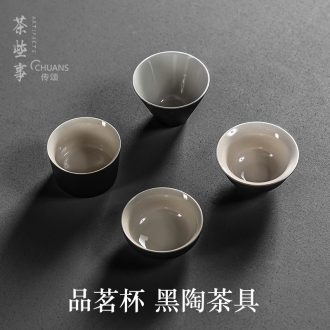 Famed tea kungfu tea cups of black single small individual small koubei master mugs household sample tea cup