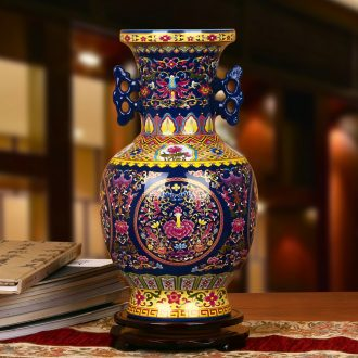Jingdezhen ceramics high - grade crystal glaze blue ear branch lotus bottles of contracted and I Chinese style household furnishing articles