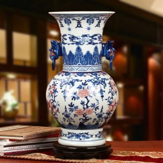 Antique hand - made porcelain of jingdezhen ceramics youligong double elephant peach pomegranate flower vase decoration