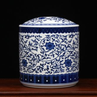Furnishing articles large blue and white porcelain is jingdezhen ceramics tea pu 'er tea box box store receives tea cake tin