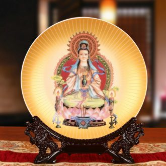 End of jingdezhen ceramics gold guanyin tuas hang dish his classical Chinese buddhist gift furnishing articles