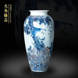 The see colour blue and white porcelain of jingdezhen ceramics vase jinhou vase modern household handicraft collection