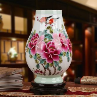 Famous jingdezhen ceramics vase Xia Guoan works upscale gift porcelain hand - made pea green pay-per-tweet peony bottle