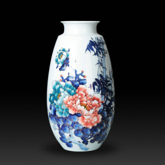 The see colour blue and white porcelain jingdezhen ceramic vase decorator Chinese peony vases, handicraft furnishing articles sitting room set
