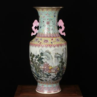 Antique hand - made jingdezhen ceramics powder enamel factory goods and fuels the admiralty large bottle classical household ornaments