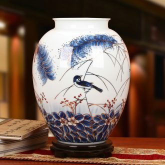 The see colour blue and white porcelain of jingdezhen ceramics high - grade hand - made reed painting of flowers and idea for gourd vases sitting room home furnishing articles