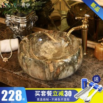 Marble basin stage art drum - shaped European - style bathroom ceramic lavatory basin that wash a face to wash your hands of household balcony