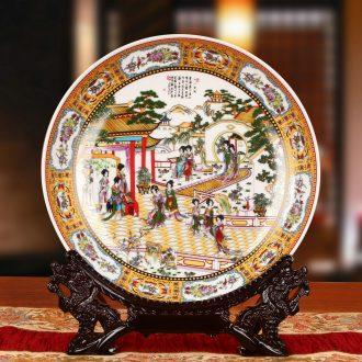 Jingdezhen ceramics powder enamel jinling twelve women hang dish plate faceplate classical Ming and the qing dynasties home furnishing articles
