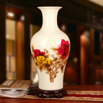 White straw riches and honor peony vase opening gifts collection jingdezhen ceramics crafts decorations