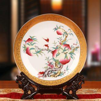 Jingdezhen ceramics up phnom penh peach faceplate hang dish plate old elder birthday decorative crafts