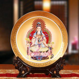 Jingdezhen chinaware paint worship guanyin Buddha faceplate hang dish plate of traditional figure of Buddha of furnishing articles