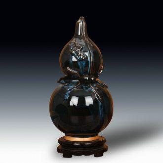 Archaize of jingdezhen ceramic vases, jun porcelain up change color glaze, black bats gourd vases modern furnishing articles