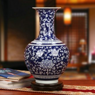 High - grade hand - made blue peony of blue and white porcelain vase Chinese jingdezhen ceramics fashion home furnishing articles