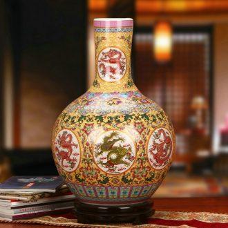 Jingdezhen ceramics archaize Kowloon enamel vase handicraft furnishing articles of Chinese style household decoration