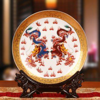 Jingdezhen ceramics key-2 luxury Jin Bianlong ChengXiang faceplate hang dish plate high - end gifts new home furnishing articles