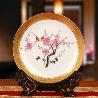Jingdezhen chinaware paint water points peach blossom put plate faceplate hang dish of modern Chinese style household adornment furnishing articles