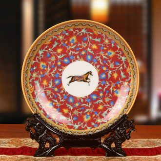 Jingdezhen ceramics European horse flowers faceplate hang dish plate modern household adornment furnishing articles