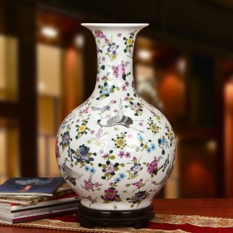 Jingdezhen ceramics powder enamel noctilucent pine crane, the design of large vases, modern Chinese style household crafts